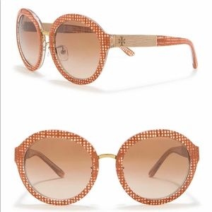 Tory Burch 54mm Round Amber Check Sunglasses